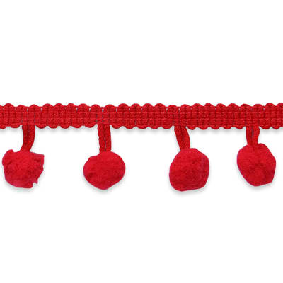 "3/4"" Pom Fringe Trim Red"
