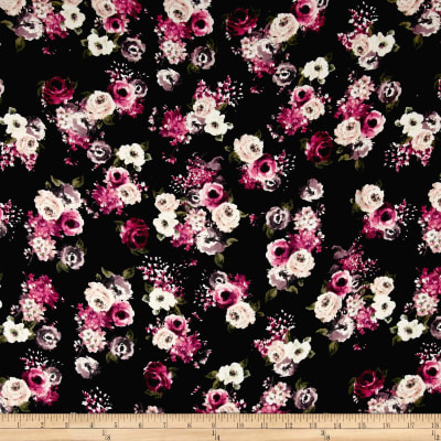 Rayon Challis English Floral Black/Mauve/Ivory