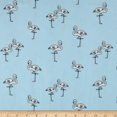 Bubble Crepe Flamingoes Blue/Ivory