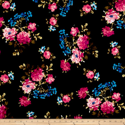 Liverpool Double Knit Romantic Floral Navy/Fuschia/Turquoise