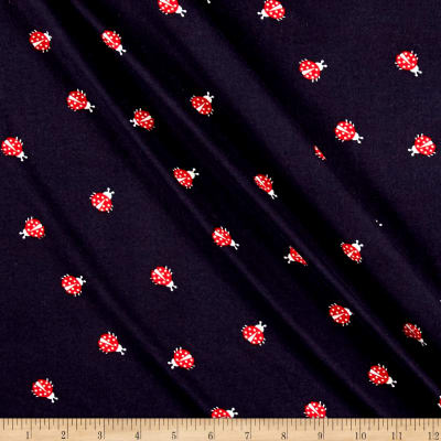 Double Brushed Printed Jersey Knit Ladybug Navy/Red