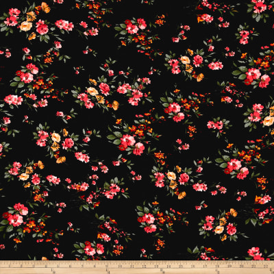 Bubble Crepe English Floral Black/Coral/Pink