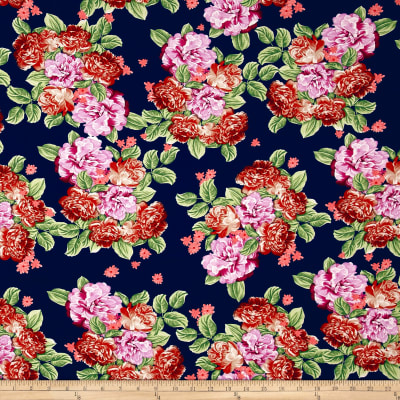 Bubble Crepe Bountiful Floral Navy/Rust/Lavender