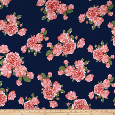 Double Brushed Jersey Knit Romantic Floral Navy/Blush/Cranberry