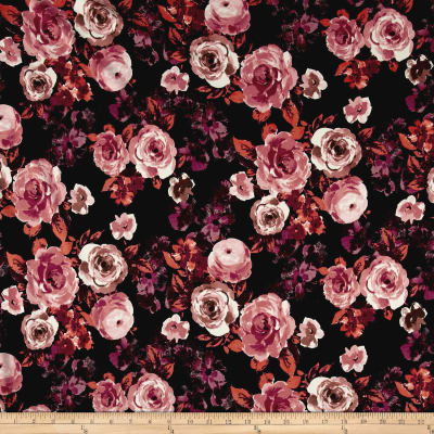 Double Brushed Jersey Knit Shabby Floral Black/Cranberry/Rust