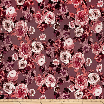 Double Brushed Jersey Knit Shabby Floral Mauve/Cranberry/Coral