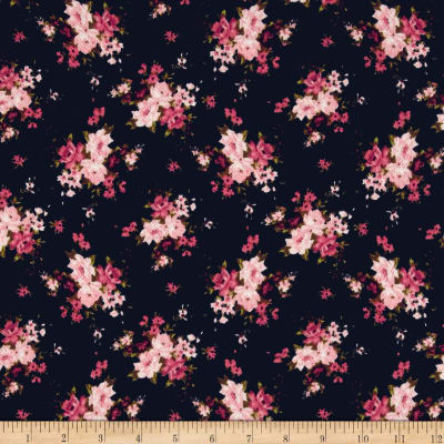 Liverpool Double Knit Mini Floral Navy/Mauve/Blush