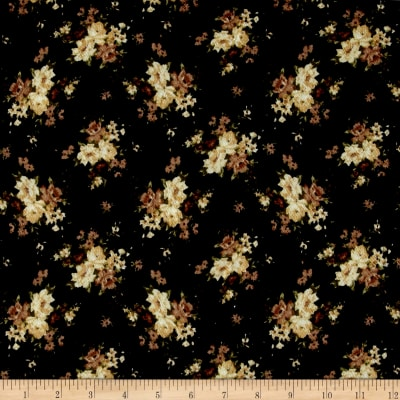 Liverpool Double Knit Mini Floral Black/Yellow/Cinnamon