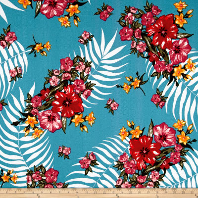 Liverpool Knit Tropical Floral Ocean/Watermelon/Red
