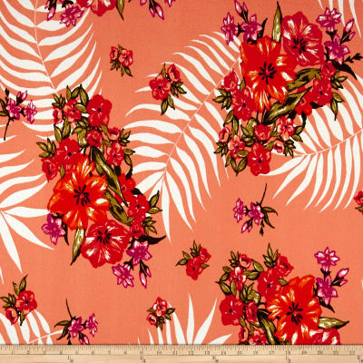 Liverpool Double Knit Tropical Floral Peach/Orange/Poppy