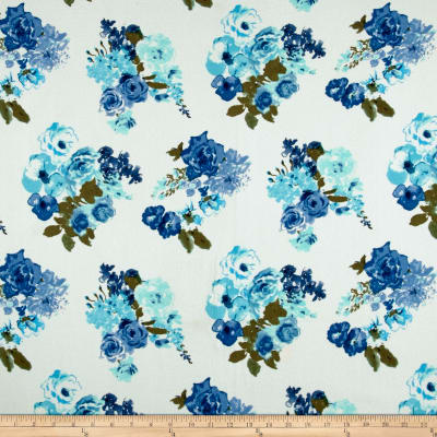 Liverpool Double Knit Watercolor Floral Ivory/Turquoise/Navy