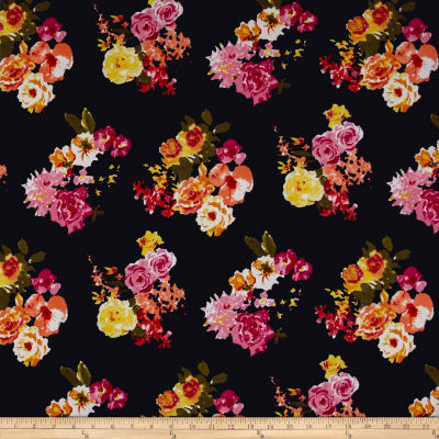 Liverpool Double Knit Watercolor Floral Black/Yellow/Pink