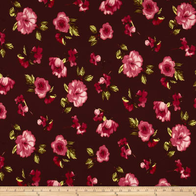 Liverpool Knit Contemporary Floral Scarlett/Watermelon/Cranberry