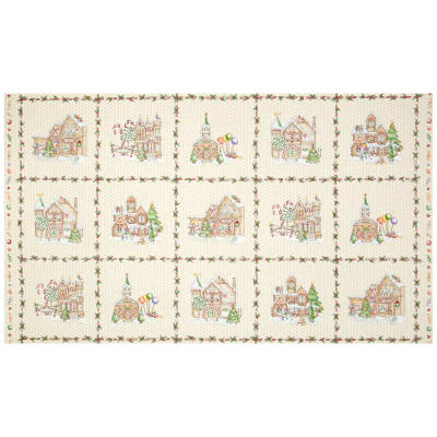 "Gingerbread Christmas 24"" Panel Cream"