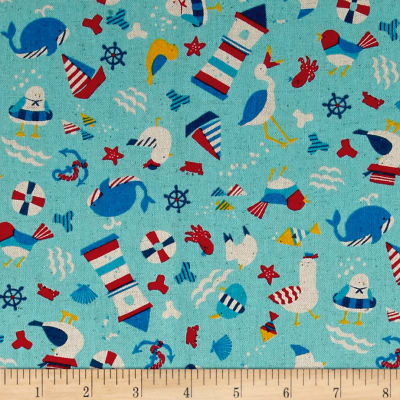 Cosmo Busy Bird Seashore Cotton Linen Blend Turqouise