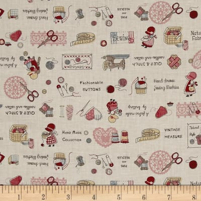 Lecien Little Heroines Sewing Notions Cream