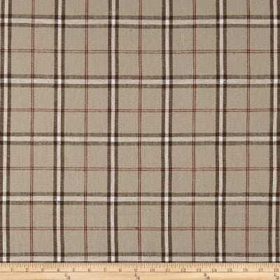 Stof Shabby Chic Linen Blend Large Plaid Brown & Red