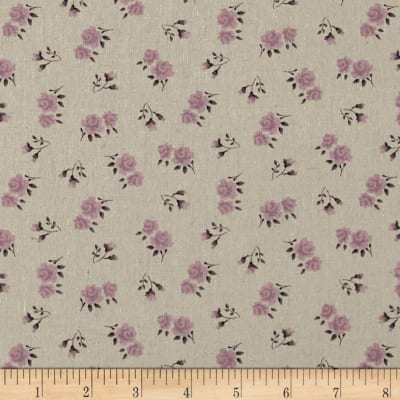 Stof Shabby Chic Linen Blend Roses & Buds  Purple