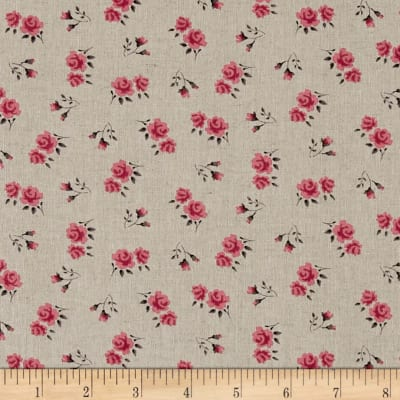 Stof Shabby Chic Linen Blend Roses & Buds Pink/Red