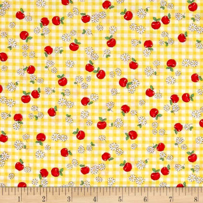 Dreaming Doll Gingham Apples Yellow