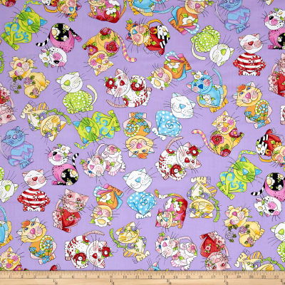 Loralie Designs Calico Cats Toss Purple