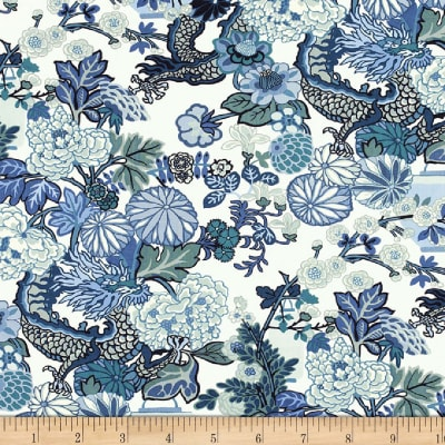 Schumacher Chiang Mai Dragon 100% Linen China Blue
