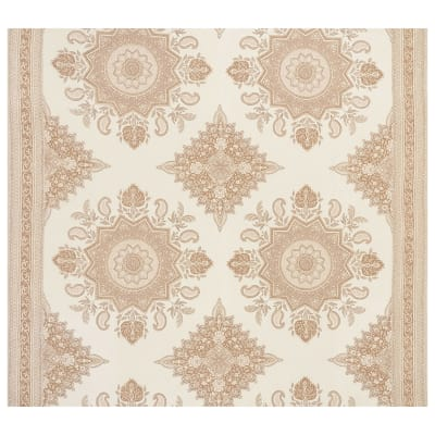 Schumacher Montecito Medallion 100% Linen Double Border Neutral