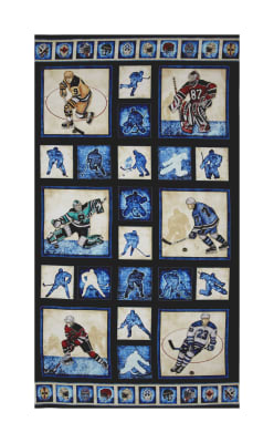 """QT Fabrics Face Off Hockey Player Picture Patch 24"""" Panel Dark Navy"""