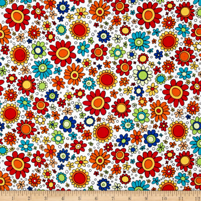 QT Fabrics House On The Hill Flowers White