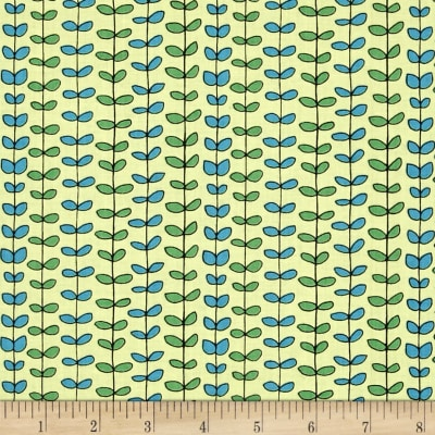 QT Fabrics House On The Hill Leaf Stripe Pale Green