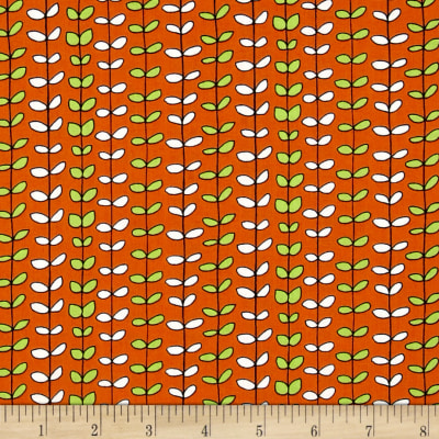 QT Fabrics House On The Hill Leaf Stripe Orange