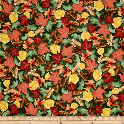 QT Fabrics North Woods Leaves & Pinecones Forest