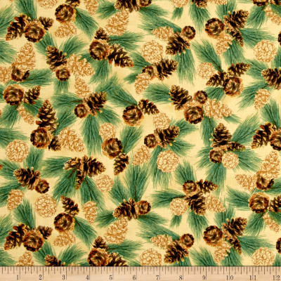 QT Fabrics North Woods Scotch Pine Toss Chamois