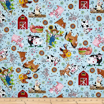 QT Fabrics Patchwork Farms Tossed Animals Light Blue