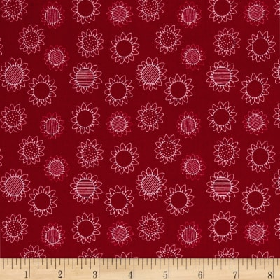 QT Fabrics Patchwork Farms Sunflower Linework Red