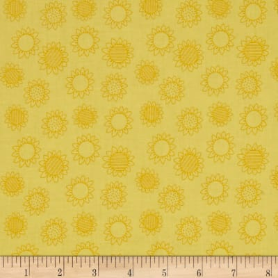 QT Fabrics Patchwork Farms Sunflower Linework Light Sunflower