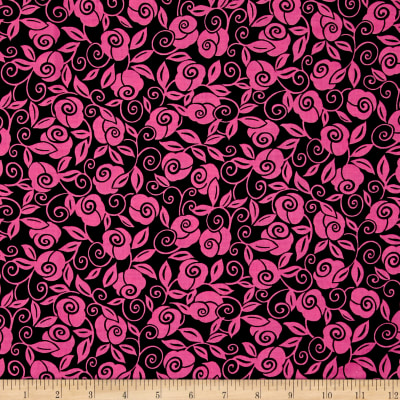 QT Fabrics Brooke Floral Scroll Black/Fuchsia