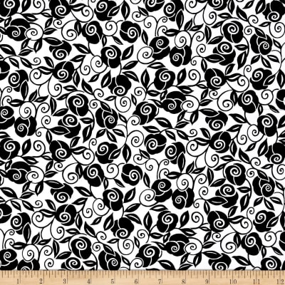 QT Fabrics Brooke Floral Scroll White/Black