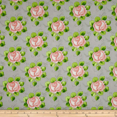 QT Fabrics Hatters Tea Party Rose Allover Gray