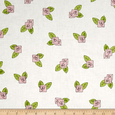 QT Fabrics Hatters Tea Party Pink Rose Toss Ecru