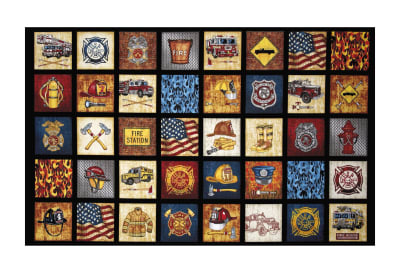 "24"" x 42"" Quilting Treasures 5 Alarm Everything Firefighter 24"" Panel Black"