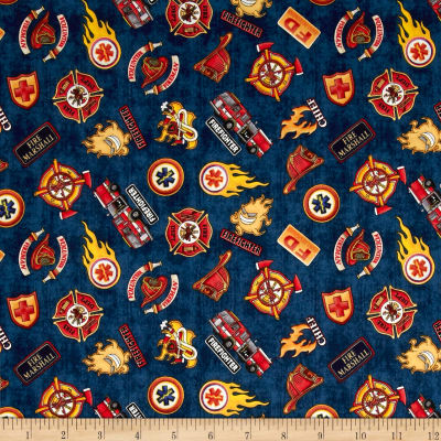 Quilting Treasures 5 Alarm Shields Navy