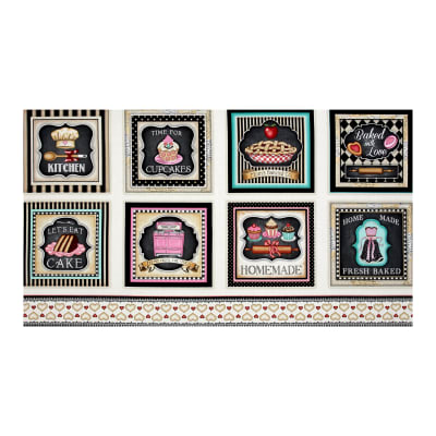 "QT Fabrics Home Sweet Home Baking Large 9"" Square Picture Patches 23.5"" Panel Buttercream"
