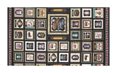 """QT Fabrics Home Sweet Home Home Sweet Home Small Patch 19"""" Panel Black"""