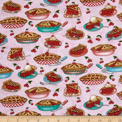 QT Fabrics Home Sweet Home Cherry Pies Pink