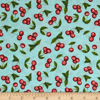 QT Fabrics Home Sweet Home Cherries Dark Aqua