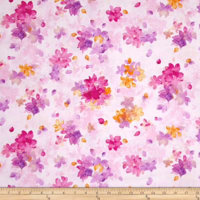 QT Fabrics Soiree Spaced Watercolor Floral Pale Pink