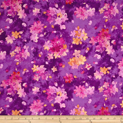 QT Fabrics Soiree Spaced Watercolor Floral Purple