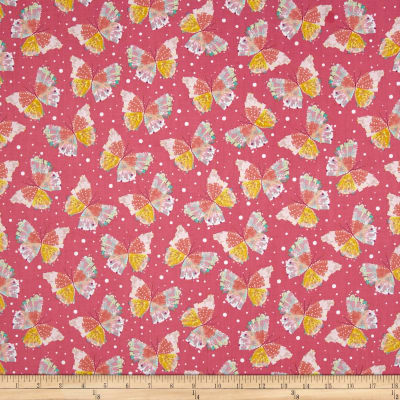 Quilting Treasures Confetti Blossoms Butterflies Pink