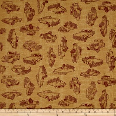 QT Fabrics Motorin' Vintage Car Sketches Honey